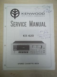 Vtg Kenwood Service/Repair Manual~KX 620 Cassette Deck~Original