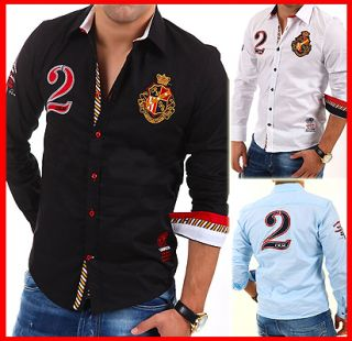 CARISMA Slim Fit Hemd Club Polo Shirt Party Kontrast 3 FARBEN Clubwear
