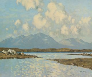 Connemara Cottages Premium Giclee Print by Paul Henry