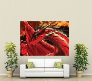 RED DRAGON GOTHIC FANTASY GIANT ART POSTER PRINT ST075