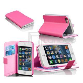 iPhone 5 Leder Tasche Handytasche Flip Cover Brieftasche Etui Hülle