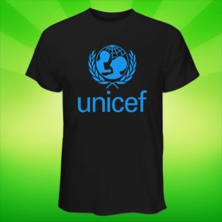 HOT Black & White T Shirt Unicef Logo UN Childrens Fund