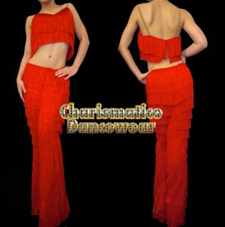 RED SALSA Latin SAMBA Fringe YULIA dance pants & Top