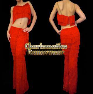 RED SALSA Latin SAMBA Fringe YULIA dance pants & Top