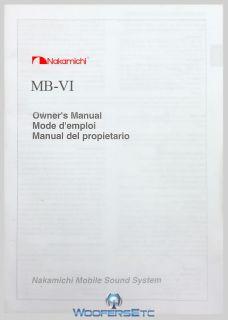 ORIGINAL NAKAMICHI MANUAL FOR MB VI STEREO PLAYER NEW