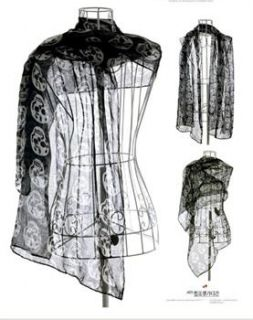 Skull Totenkopf Bones Muster Dünn Seidig Silky Rayon Nylon Tücher