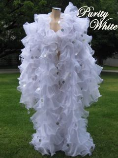 WHITE SISSY Organza cabaret Drag queen Ruffle Coat