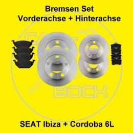 Bremsscheiben + Beläge vorn+hinten SEAT Ibiza 6L 74kW