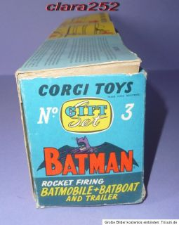Corgi Gift Set Nr.3 Batmobile + Batboat on Trailer, 1966, im OK