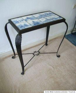 ART DECO Wand KONSOLE Tisch Schmiedeeisen DELFTER Kachel blauweiss