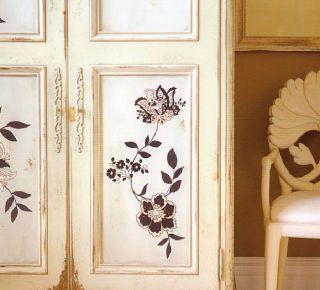 Maxi Wand Sticker/Tattoo Blumen Glitzereffekt 50x70 cm