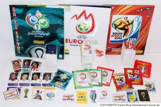 Panini 3 x KOMPLETTSATZ COMPLETE SET + ALBUM EURO 2008, WM WC 2006