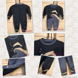 baby boy Strick Strampler overall Handarbeit 100% Wolle Delphin