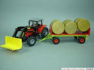 MF Massey Ferguson 4270 Frontl. Rundballenanhänger Traktor Siku