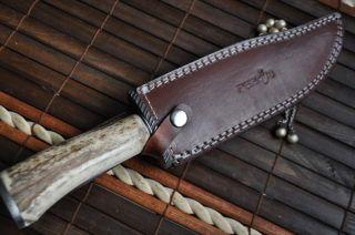 CUSTOM MADE HUNTING KNIFE 440C STEEL DAMAS GUARD  STAG ANTLER