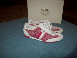 Coach Pink & White Signature Print Athletic Shoes 9.5