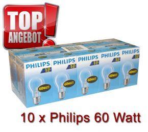 10 x Philips Glühbirne 60W 60 Watt klar E27 Glühlampe Glühbirnen