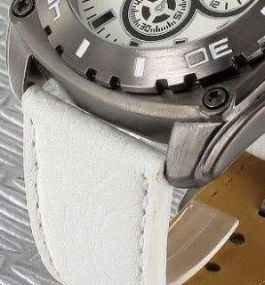Herrenuhr Herrenarmbanduhr Chrono Fliegeruhr Echt Leder weiss Uhr Jay