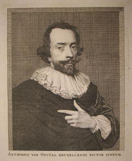 c1700 Opstal Anton van Kupferstich Porträt de Man van Dyck Maler