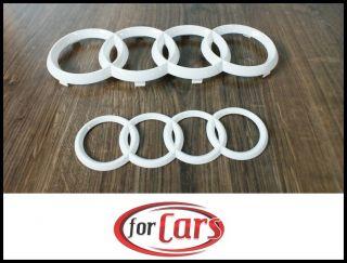 Audi A4 8K allroad 8E Avant Ringe White Glanz Grill Emblem + Heck