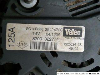 Renault Kangoo 1.5 DCI   Lichtmaschine   Valeo   2542470   8200 022774