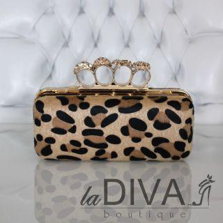 Ringtasche Clutch leopard gold Strass Ringe Fell Style Abendtasche