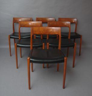 SET OF SIX Niels O. Møller / Möller Teak Chair Model 77 by Niels O