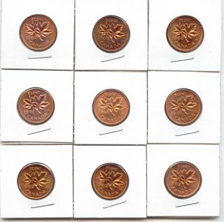 Canada 1960, 1961 and 1962 1 Cent Canadian Pennies High Grade Unc (3