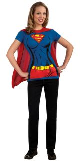 Ladies Supergirl T Shirt & Cape Superhero DC Comic Fancy Dress