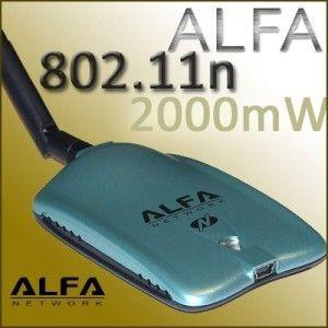 Alfa 2000mW AWUSO36NH 802.11N USB Adapter Wireless N 2W