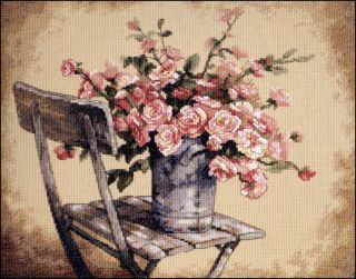 Stickpackung DIMENSIONS  Roses On White Chair 35187   14 Counted Cross