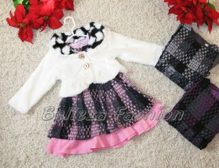 alle Größe ♥ Elegante Mädchen Set ♥ Kleid + Plüsch Bolero