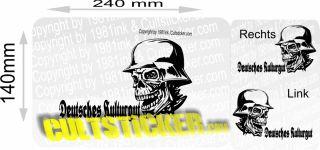 Deutsches Kulturgut Skull Oldschool Aufkleber Retro VW
