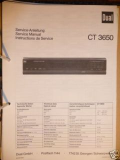 Service Manual für Dual CT 3650 Tuner, ORIGINAL