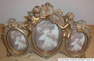 Antik Alte Barock Bilderrahmen 3er Fotorahmen Oval Engel Gold Farbe
