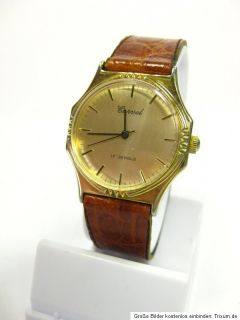 Antike Carvel Armbanduhr in Gold mit Krokolederarmband Handaufzug 17