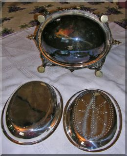 Victorian SP Silver Plate Bacon Server Chafing Dish NoR