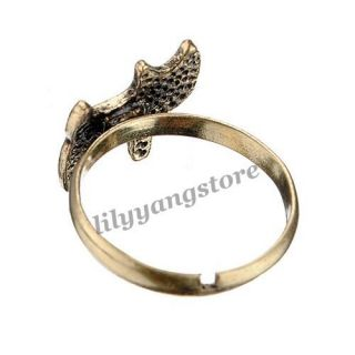 Lady Bronze Retro Style Little Cat Kitten Finger Ring Adjustable