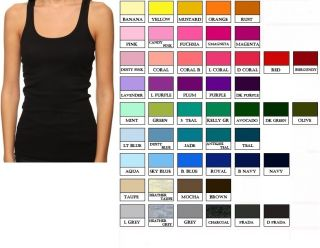 BASIC STRETCH RACER BACK RIB TANK TOP LONG LENGTH MULTI COLOR