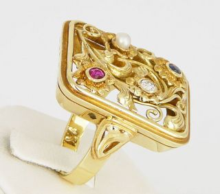 Antikschmuck ART DECO Gemuesering RING 585 Gold Altschliff Diamant