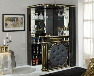 Buffet Bar Tresen Vitrine Schwarz Gold Wohnzimmer Klassische Italien