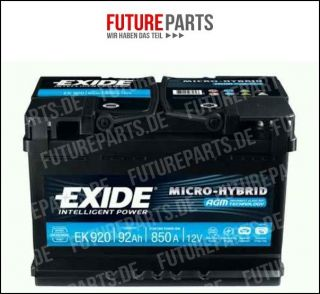 EXIDE AGM BATTERIE EK920 EK900 92AH 12V 850A AGM920 BMW MERCEDES