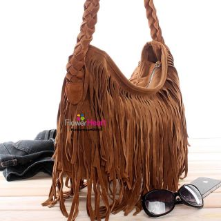 HOT Fx Suede Fringe Tassel Shoulder Bag Womens Handbag