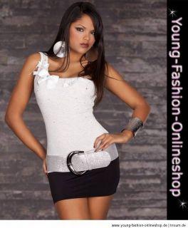 10833 One Shoulder Top Shirt Strass 34/36/38 Schwarz Weiß Rosa Grau
