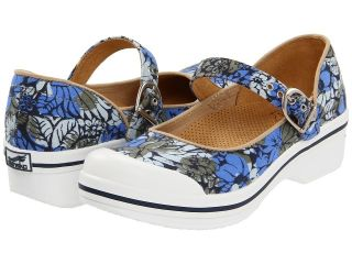 Dansko Womens Valerie Canvas Fabric Closed Back Clogs Blue Hawaii