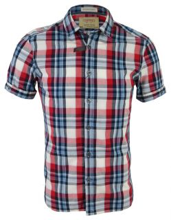 New ESPRIT Mens Short Sleeve Check Shirt Blue & Red Slim Fit