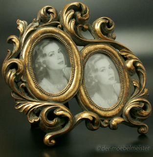 Bilderrahmen Fotorahmen 2 Fotos Bilder Rahmen oval Gold Holz Antik