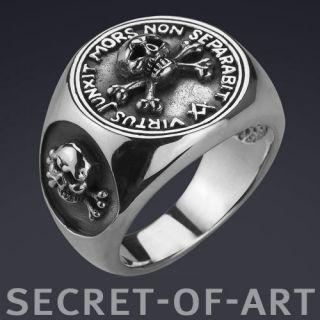 Masonic Freimaurer SKULL AND BONES Silver 925 Ring