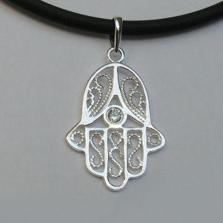 925 Silber Anhänger Hand der Fatima Hamsa