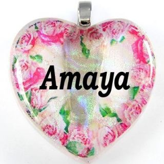 Name Amaya 925 Sterling Silver Heart Lampwork Dichroic Glass Pendant